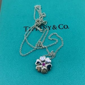 Tiffany & Co SS Flower Pendant with Ruby